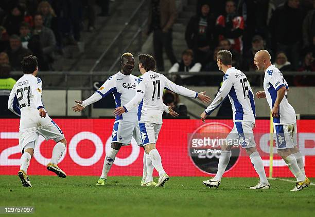 Cesar Santin of FC Kobenhavn celebrates with his team mate Dame N'Doye after scoring his team's second goal during the UEFA Europa League Group B...