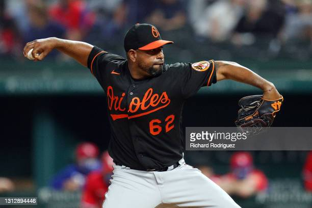 Cesar Valdez of the Baltimore Orioles pitches against the Texas Rangers in the ninth inning at Globe Life Field on April 16, 2021 in Arlington, Texas.