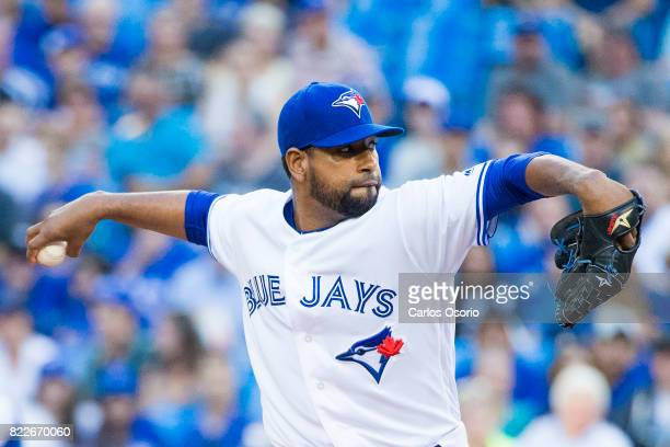 TORONTO ON JULY 25 Cesar Valdez of the Blue Jays delivers a pitch during the 1st inning of MLB action as the Toronto Blue Jays host the Oakland...