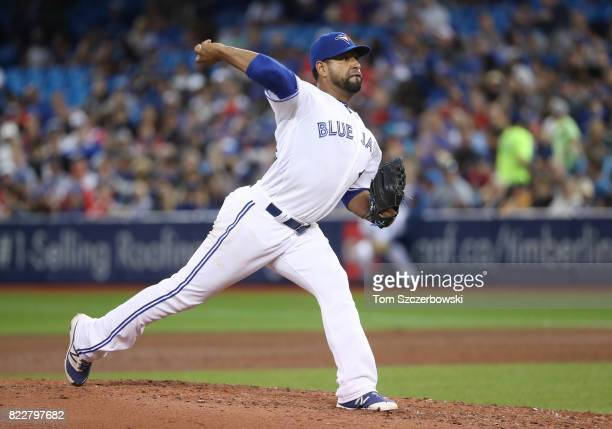 Cesar Valdez of the Toronto Blue Jays delivers a pitch in the sixth inning during MLB game action against the Oakland Athletics at Rogers Centre on...