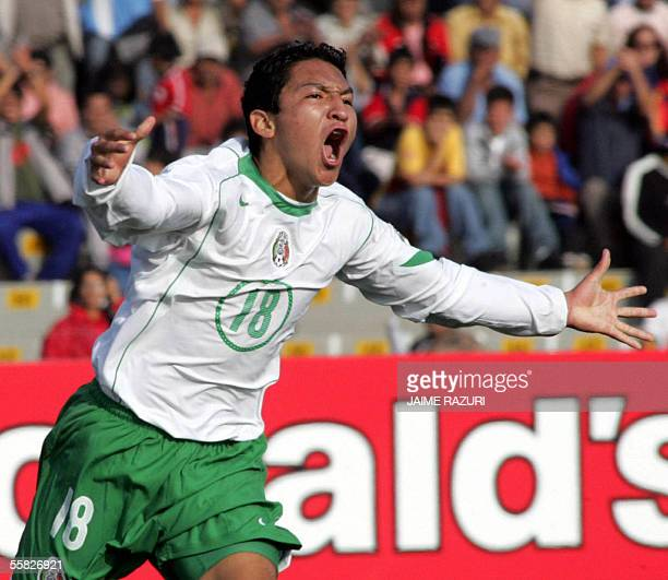 Cesar Villaluz of Mexico celebrates after scoring against the Netherlands at their U17 World Cup semifinal match in Chiclayo Peru September 29 2005...