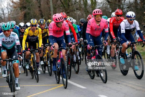 Cesare Benedetti of Italy and Team Bora - Hansgrohe, Primoz Roglic of Slovenia and Team Jumbo - Visma Yellow Leader Jersey, Tony Martin of Germany...