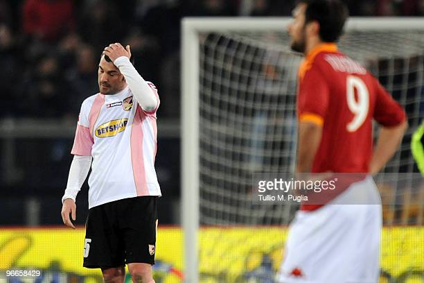 Cesare Bovo looks dejected after scoring a own goal during the Serie A match between AS Roma and US Citta di Palermo at Stadio Olimpico on February...