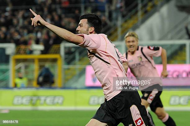 Cesare Bovo of Palermo celebrates the opening goal during the Serie A match between US Citta di Palermo and AC Milan at Stadio Renzo Barbera on April...