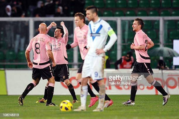 Cesare Bovo of Palermo celebrates with his team mates after scoring the opening goal during the Serie A match between US Citta di Palermo and Brescia...
