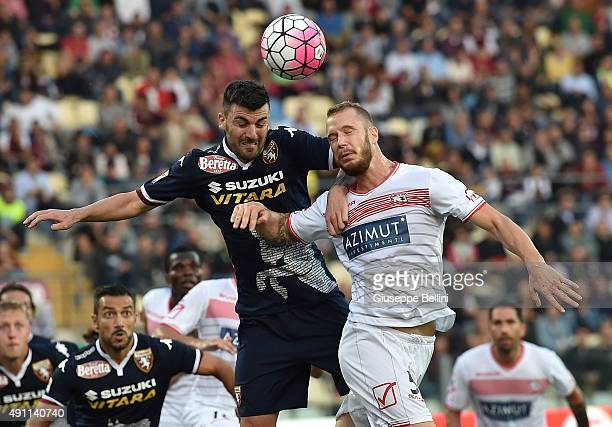 Cesare Bovo of Torino and Matteo Fedele of Carpi in action during the Serie A match between Carpi FC and Torino FC at Alberto Braglia Stadium on...