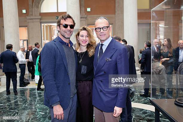 Cesare Cunaccia Alessandro Preziosi and Greta CArandini attend the official opening of 'Martial Raysse' exhibition at Palazzo Grassi on April 11 2015...