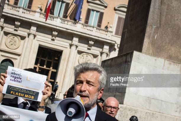 Cesare Damiano during the sitin of the parliamentary assistants show in Piazza Montecitorio to ask for the regularization of the employment relations...