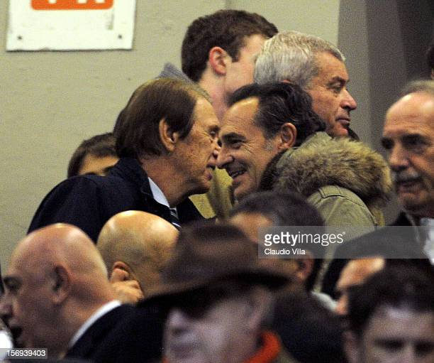 Cesare Maldini and Cesare Prandelli attend the Serie A match between AC Milan and Juventus FC at San Siro Stadium on November 25 2012 in Milan Italy