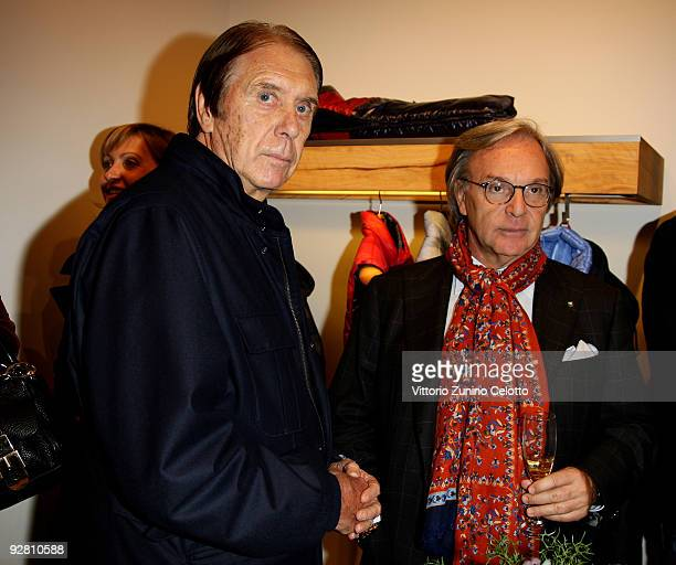 Cesare Maldini and Diego Della Valle attend the Grand Stadium Jacket cocktail party at the Fay Boutique on November 5 2009 in Milan Italy