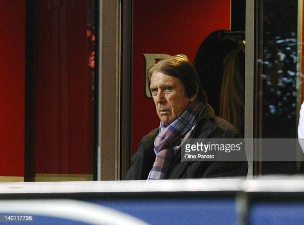 Cesare Maldini looks on during the Serie A match between AC Milan and Juventus FC at Stadio Giuseppe Meazza on February 25 2012 in Milan Italy