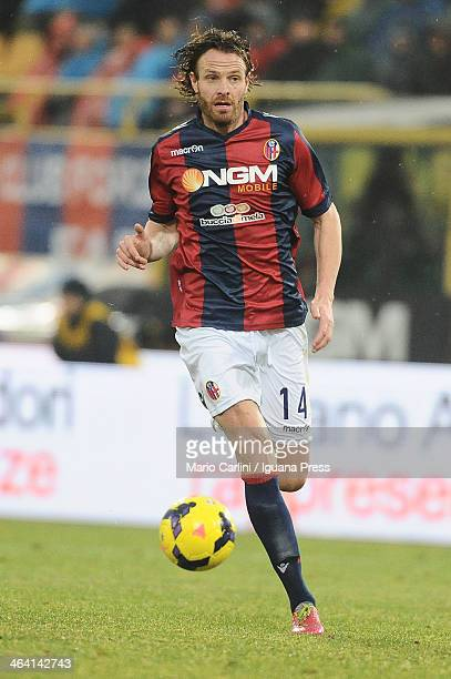 Cesare Natali of Bologna FC in action during the Serie A Bologna FC and SSC Napoli at Stadio Renato Dall'Ara on January 19 2014 in Bologna Italy