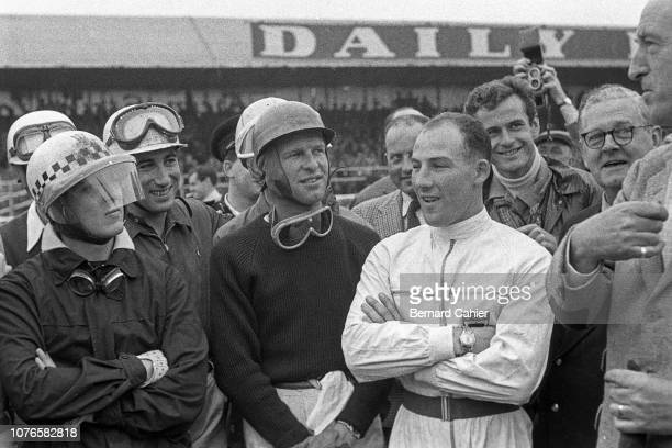 Cesare Perdisa Alfonso de Portago Peter Collins Stirling Moss Grand Prix of Great Britain Silverstone Circuit 14 July 1956 Drivers breefing before...