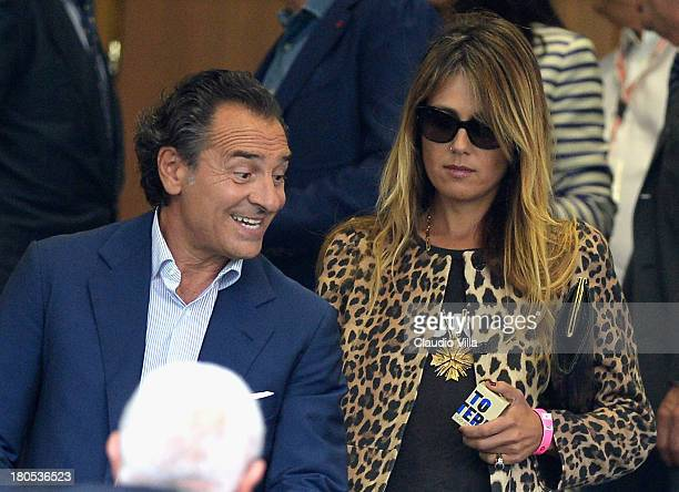 Cesare Prandelli and Novella Benini attend the Serie A match between FC Internazionale Milano and Juventus FC at San Siro Stadium on September 14...