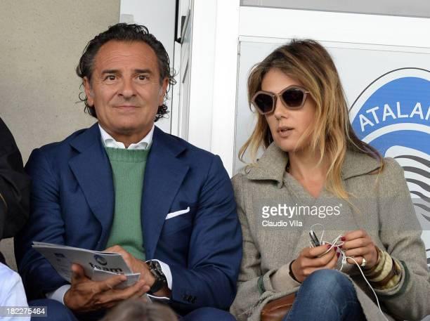 Cesare Prandelli and Novella Benini attend the Serie A match between Atalanta BC and Udinese Calcio at Stadio Atleti Azzurri d'Italia on September 29...
