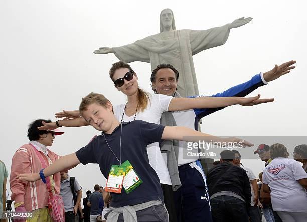 Cesare Prandelli and Novella Benini of Italy visit the Christ the Redeemer Statue on June 13 2013 in Rio de Janeiro Brazil