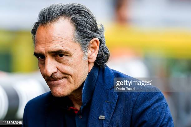 Cesare Prandelli coach of Genoa before the Serie A match between Genoa CFC and Torino FC at Stadio Luigi Ferraris on April 20 2019 in Genoa Italy