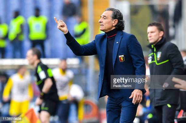 Cesare Prandelli coach of Genoa during the Serie A match between Genoa CFC and Frosinone Calcio at Stadio Luigi Ferraris on March 3 2019 in Genoa...