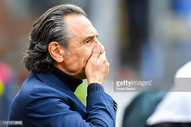 Cesare Prandelli coach of Genoa gestures before the Serie A match between Genoa CFC and AS Roma at Stadio Luigi Ferraris on May 5 2019 in Genoa Italy