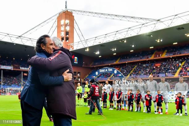 Cesare Prandelli coach of Genoa hugs Claudio Ranieri coach of Roma before the Serie A match between Genoa CFC and AS Roma at Stadio Luigi Ferraris on...