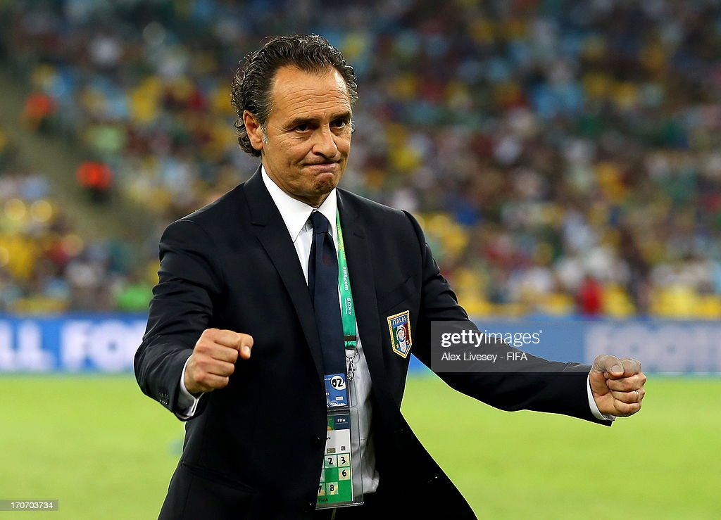 Cesare Prandelli head coach of Italy celebrates at the end of the FIFA Confederations Cup Brazil 2013 Group A match between Mexico and Italy at the Maracana Stadium on June 16, 2013 in Rio de Janeiro, Brazil.