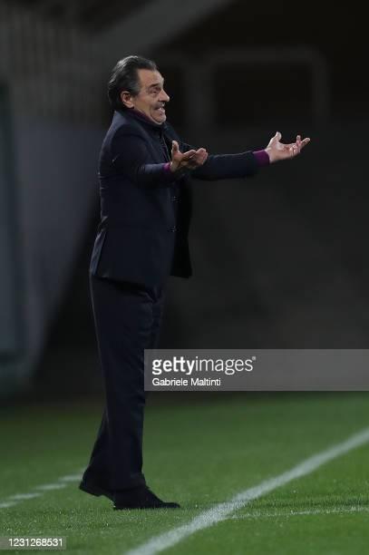 Cesare Prandelli manager of ACF Fiorentina gestures during the Serie A match between ACF Fiorentina and Spezia Calcio at Stadio Artemio Franchi on...