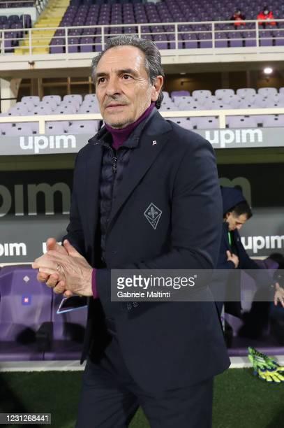Cesare Prandelli manager of ACF Fiorentina looks on during the Serie A match between ACF Fiorentina and Spezia Calcio at Stadio Artemio Franchi on...