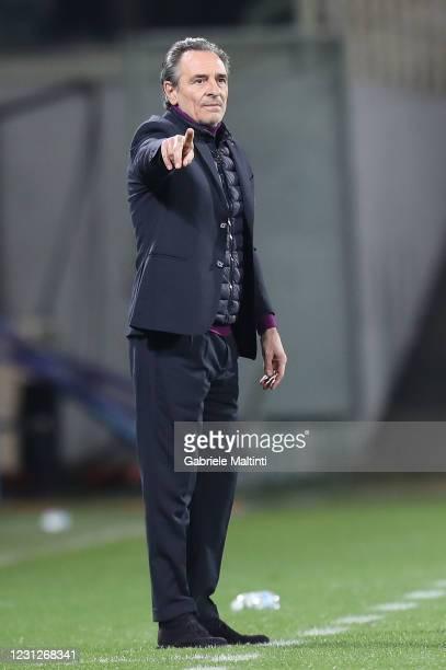 Cesare Prandelli manager of AFC Fiorentina gestures during the Serie A match between ACF Fiorentina and Spezia Calcio at Stadio Artemio Franchi on...
