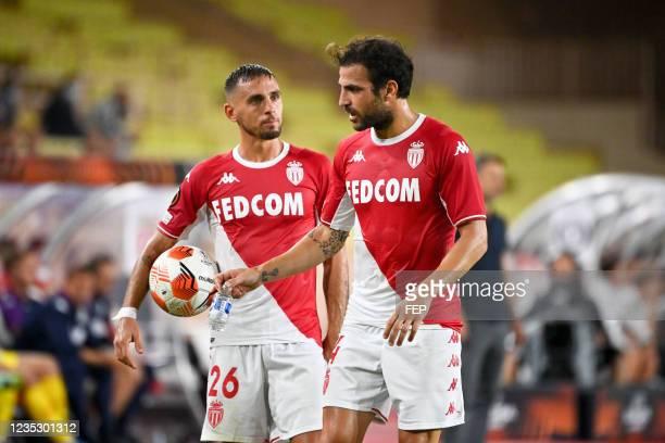Cesc FABREGAS - 26 Ruben AGUILAR during the UEFA Europa League match between Monaco and Sturm Graz at Louis II Stadium on September 16, 2021 in...