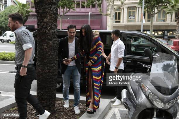 Cesc Fabregas and Daniella Semaan are seen walking in Barcelona on May 17, 2017 in Barcelona, Spain.