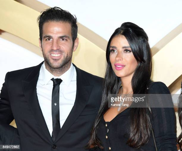 Cesc Fabregas and Daniella Semaan attend the 'Kingsman: The Golden Circle' World Premiere at Odeon Leicester Square on September 18, 2017 in London,...
