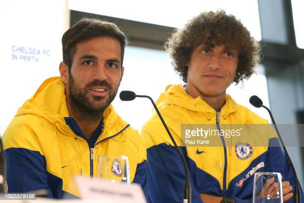 Cesc Fabregas and David Luiz of Chelsea address the media during a Chelsea FC press conference at Optus Stadium on July 20 2018 in Perth Australia