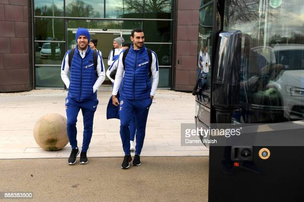 Cesc Fabregas and Davide Zappacosta of Chelsea boards the team coach at Chelsea Training Ground on December 8 2017 in Cobham England