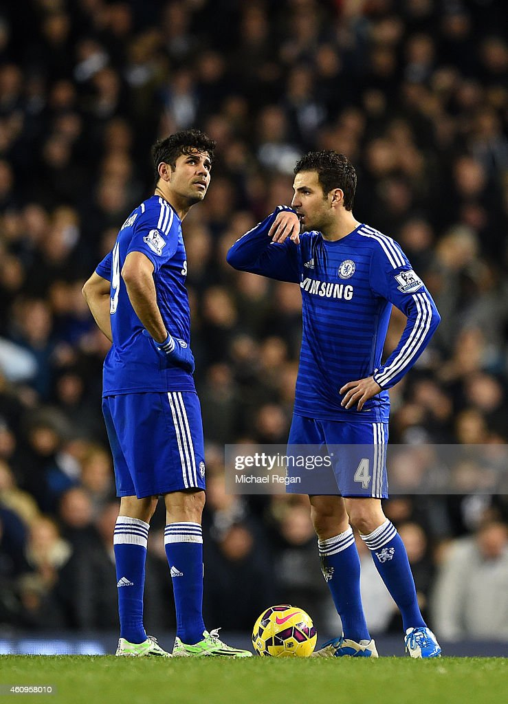 Cesc Fabregas and Diego Costa of Chelsea show their dejection after conceding a fourth goal during the Barclays Premier League match between Tottenham Hotspur and Chelsea at White Hart Lane on January 1, 2015 in London, England.
