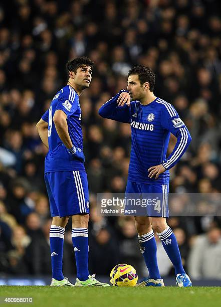 Cesc Fabregas and Diego Costa of Chelsea show their dejection after conceding a fourth goal during the Barclays Premier League match between...