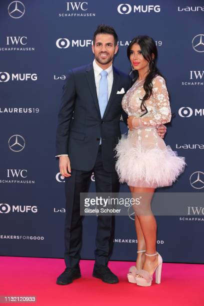 Cesc Fabregas and his wife Daniella Semaan during the Laureus World Sports Awards 2019 at Monte Carlo Sporting Club on February 18, 2019 in Monte...