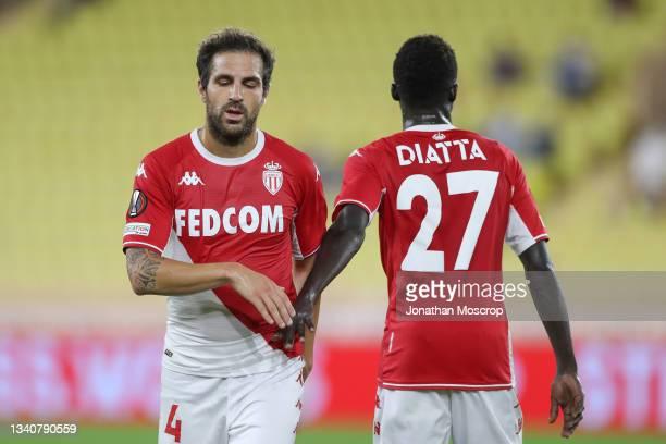 Cesc Fabregas and Krepin Diatta of AS Monaco during the UEFA Europa League group B match between AS Monaco and Sturm Graz at Stade Louis II on...