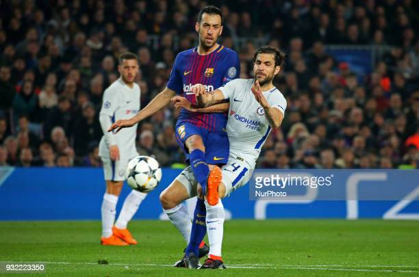 Cesc Fabregas and Sergio Busquets during the match between FC Barcelona and Chelsea FC for the secong leg of the 1/8 final of the UEFa Champions...