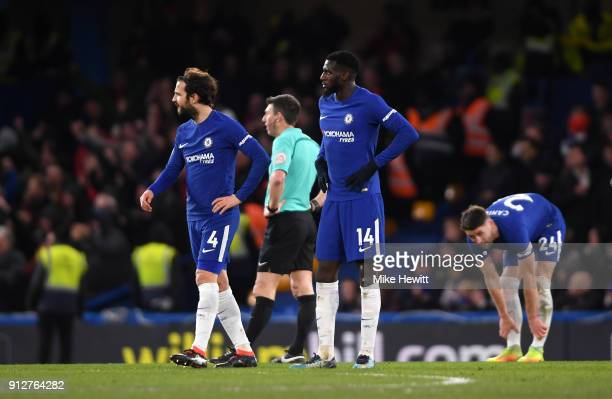 Cesc Fabregas and teammate Tiemoue Bakayoko of Chelsea look dejected during the Premier League match between Chelsea and AFC Bournemouth at Stamford...