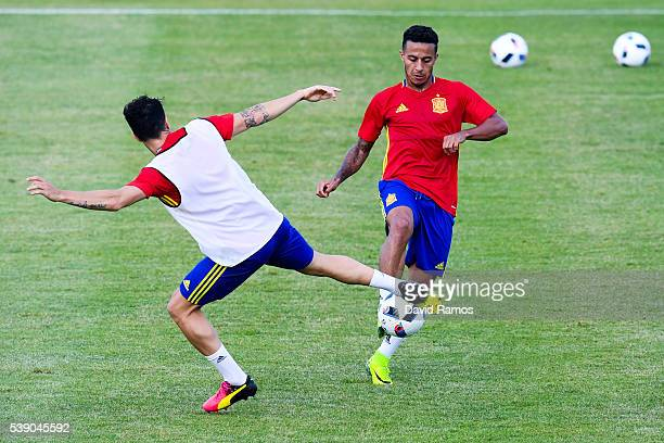 Cesc Fabregas and Thiago Alcantara of Spain in action during a training session on June 9 2016 in La Rochelle France