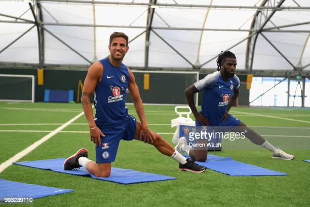 Cesc Fabregas and Tiemoue Bakayoko of Chelsea during a training session at Chelsea Training Ground on July 7 2018 in Cobham England