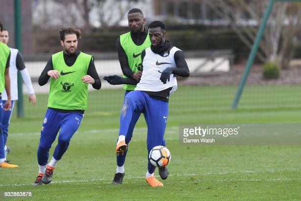 Cesc Fabregas Antonio Rudiger and Tiemoue Bakayoko of Chelsea during a training session at Chelsea Training Ground on March 16 2018 in Cobham United...