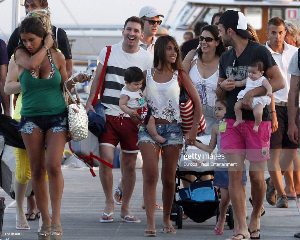 Cesc Fabregas, Leo Messi And Their Families Sighting In Ibiza - July 8, 2013