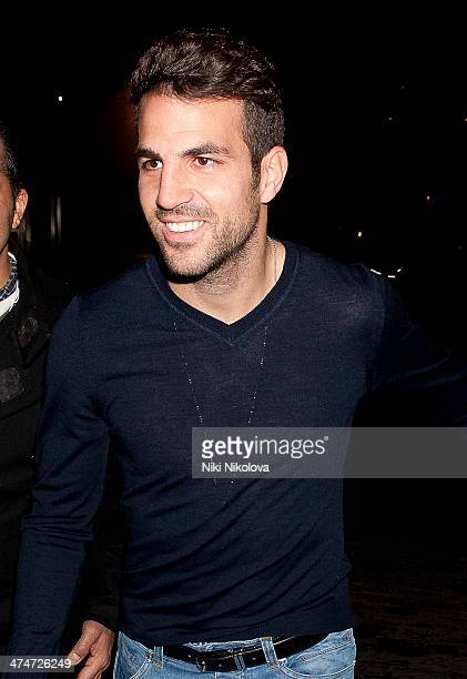 Cesc Fabregas is seen leaving Zuma restaurant Knightsbridge on February 24 2014 in London England
