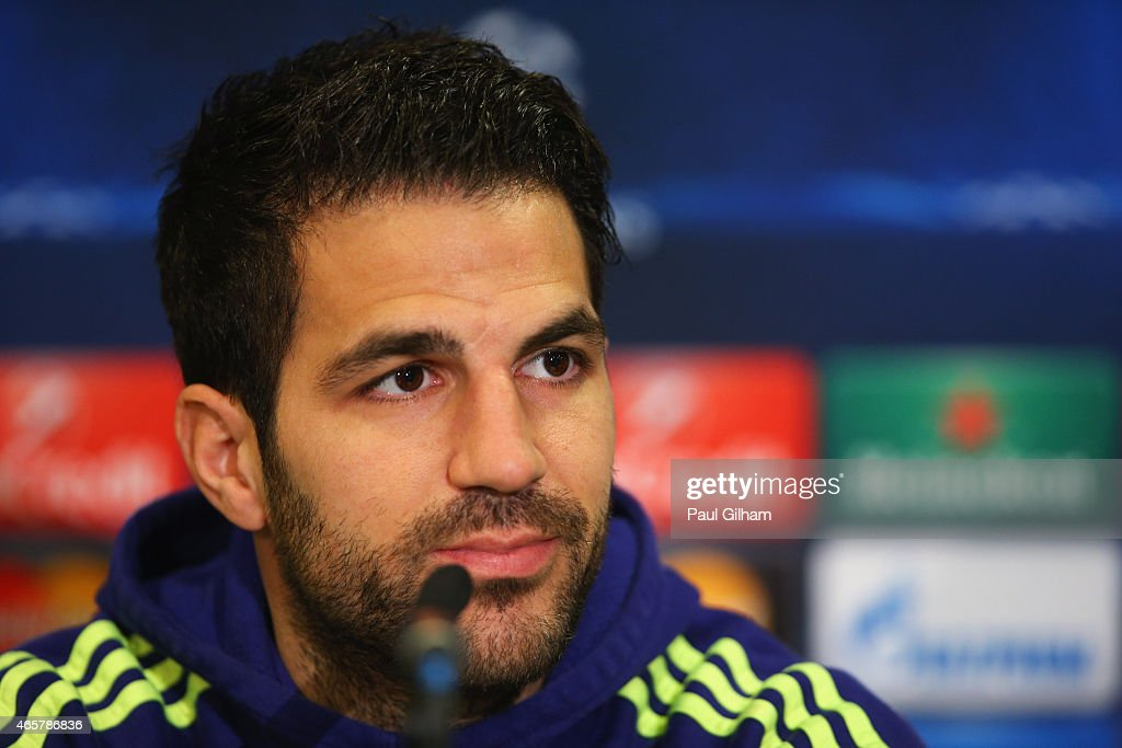 Cesc Fabregas looks on during a Chelsea press conference ahead of the UEFA Champions League Round of 16 second leg match against Paris Saint-Germain at Stamford Bridge on March 10, 2015 in London, England.