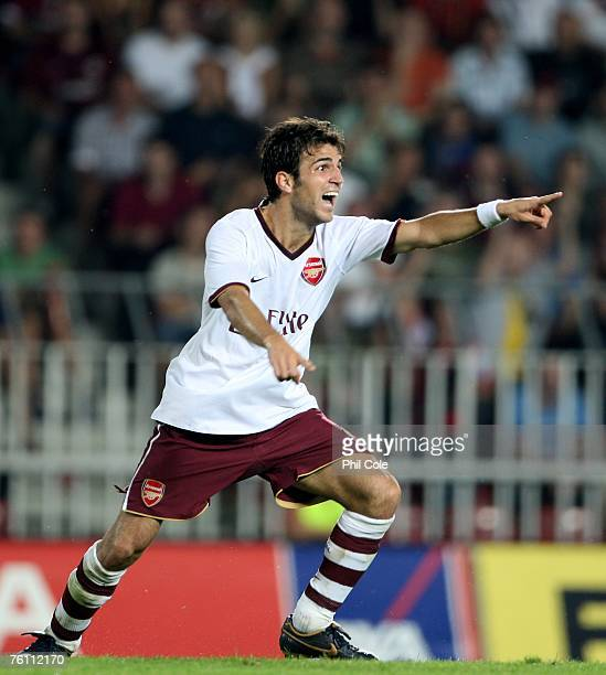 Cesc Fabregas of Arsenal celabrates his goal against Sparta Prague during the Champions League 3rd qualifying round 1st leg between Sparta Prague and...