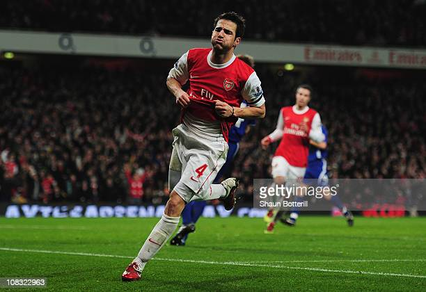 Cesc Fabregas of Arsenal celebrates as he scores their third goal during the Carling Cup Semi Final Second Leg match between Arsenal and Ipswich Town...