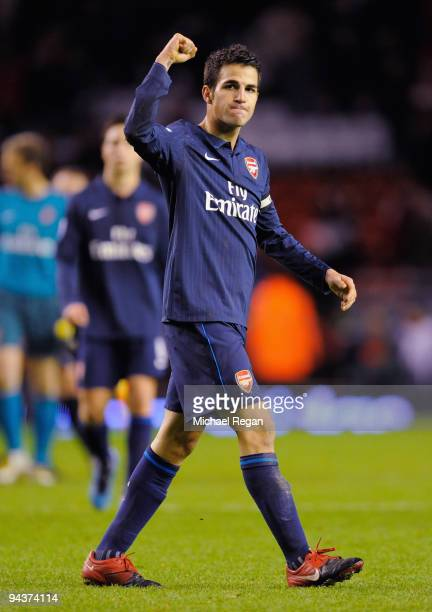 Cesc Fabregas of Arsenal celebrates at the end of the Barclays Premier League match between Liverpool and Arsenal at Anfield on December 13 2009 in...