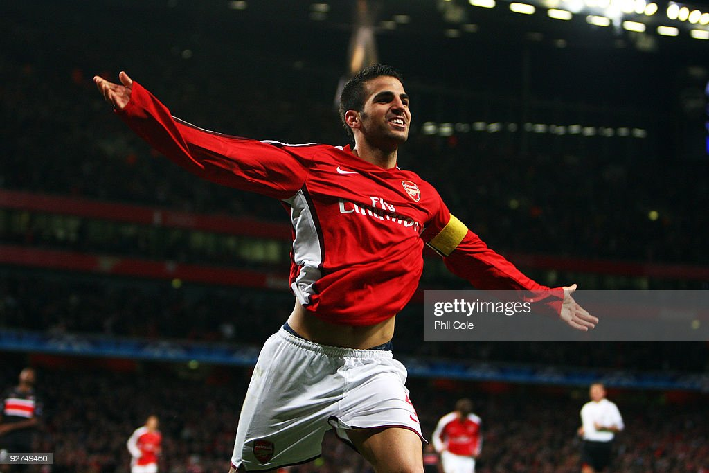 Cesc Fabregas of Arsenal celebrates scoring the third goal of the game during the UEFA Champions League Group H match between Arsenal and AZ Alkmaar at the Emirates Stadium on November 4, 2009 in London, England.