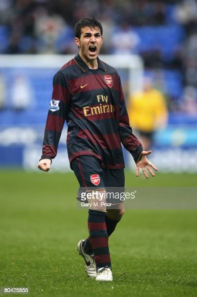 Cesc Fabregas of Arsenal celebrates the win after the Barclays Premiership match between Bolton Wanderers and Arsenal at the Reebok Stadium on March...